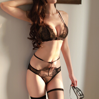 性感蕾丝文胸吊袜带套装挑逗黑丝袜制服 均码