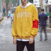 新款卫衣男套头连帽宽松嘻哈街舞潮袖章印花韩国长袖风恤