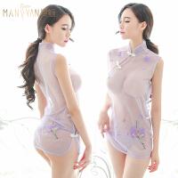 情趣内衣服性感挑逗开裆旗袍透明视装骚激情套装女制服诱惑小胸罩