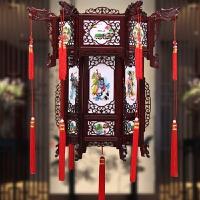 中式实木宫灯六角大红茶楼结婚阳台吊灯户外仿古灯笼挂饰
