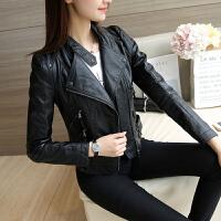 皮衣女士秋季女装新款修身PU机车皮衣短款女外套皮夹克立领 黑色【双拉链】