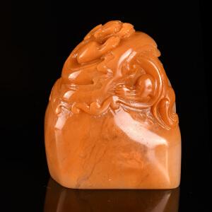 《神兽椭圆章》天然结晶寿山石全手工精雕