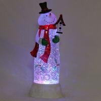 水晶雪人红围巾 LED发光飘雪摆件 定制*女友 448 11.5*11.5*35
