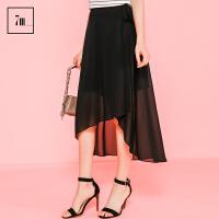 雪纺裙拉夏贝尔 7m2017夏装新款黑色气质不对称中长裙半身裙女70007827
