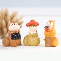 创意松鼠小摆件可爱动物儿童房家居花盆装饰品桌面摆设礼品