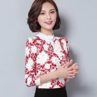 2018新款 新款加绒加厚蕾丝打底衫女长袖韩版印花修身雪纺衫上衣潮