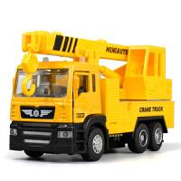 工程车声光版回力合金汽车模型儿童礼品玩具仿真吊车起重机合金