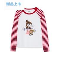 童装女童打底衫中大童儿童上衣春装2018新款圆领长袖T恤