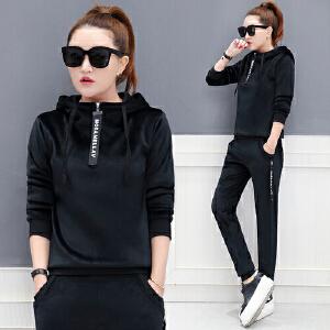 冬装新款韩版连帽卫衣运动服两件套女加绒加厚休闲显瘦金丝绒套装