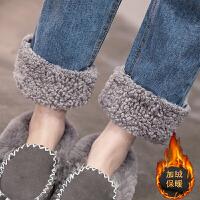 羊羔毛翻边阔腿高腰加绒牛仔裤女秋冬季2018新款潮流宽松卷边直筒裤子
