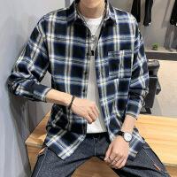 新款长袖衬衫格子男士韩版潮流帅气青少年学生休闲衬衣男寸衣