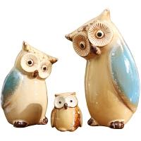 猫头鹰装饰摆件可爱创意客厅儿童房陶瓷家居饰品摆设七夕礼物