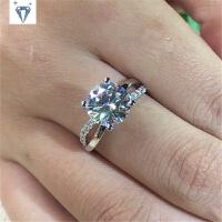 莫桑石钻戒女交叉款D色玫瑰金黄金仿真钻石戒指结婚克拉钻