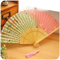 古风女小折扇中国风折叠夏季日式古代复古典樱花桃花儿童舞蹈扇子