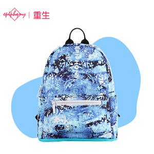 【支持礼品卡支付】Epiphqny重生日韩系休闲潮流蓝色梦幻女学生双肩书包背包