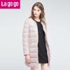 【每满200减100】Lagogo/拉谷谷冬季新款时尚拉链口袋纯色羽绒服