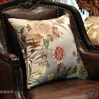 欧式美式中式花鸟抱枕沙发靠背靠垫床头靠包办公大号靠枕腰枕含芯 +枕芯