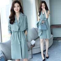 风衣女装中长款韩版春秋新款OL修身外套风衣两件套时尚套装裙