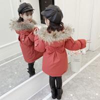 冬季女童棉衣冬装2018新款女孩洋气外套儿童加厚羽绒中长宝宝棉袄秋冬新款 桔红色 此款正码现货发售