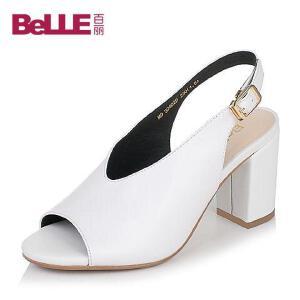 Belle/百丽2017夏优雅时尚粗跟鱼嘴牛皮女皮凉鞋30402BL7