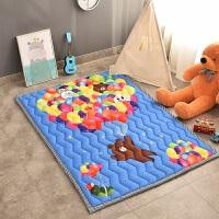 四季加厚折叠婴儿爬行垫儿童宝宝爬爬垫游戏毯卧室防滑榻榻米地垫 乳白色 气球熊(加厚)