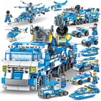 儿童积木拼装玩具军事�犯叱鞘芯�察车96-7-8-10岁男孩子3智力
