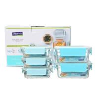 Glasslock 耐热玻璃保鲜盒微波炉便当盒GL1347饭盒冰箱收纳水果密封碗5件套装