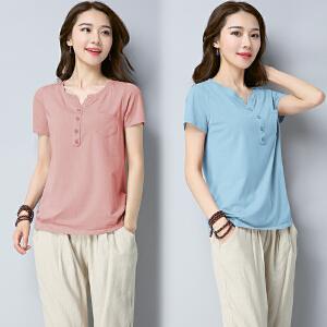 短袖T恤女上衣夏装2018新款韩版休闲打底衫修身百搭V领纯色NRC303-1603