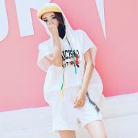 宽松运动套装女夏休闲大码胖MM连帽运动服原宿风bf跑步短裤两件套