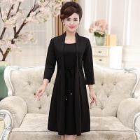 2018春装新款妈妈长袖韩版时尚中打底裙中年显瘦假两件套连衣裙女35-45岁中长款连衣裙
