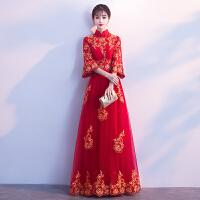 中式新娘敬酒服长款2018新款春季红色婚礼晚礼服女结婚长袖中国风 下摆加花