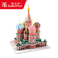 儿童立体拼图 拼装建筑模型 智力拼插 俄罗斯瓦西里大教堂模型
