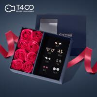 T400耳钉女纯银一星期耳钉礼盒简约气质韩国个性耳环星期组合套装
