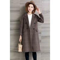 双面呢大衣女中长款秋冬新款羊毛羊绒格子大衣通勤韩版外套潮