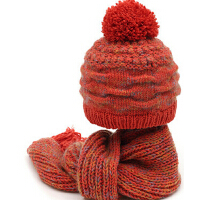 韩版潮秋冬季女士 羊毛毛线围巾 保暖两件套 纯手工毛线帽子