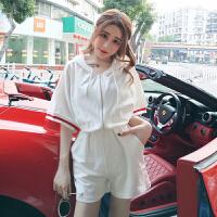 韩版时尚休闲2018夏季新款可爱宽松连帽卫衣+松紧腰系带短裤套装