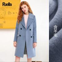 雾霾蓝呢子大衣女装加厚2017春季新款韩版时尚中长款森系毛呢外套