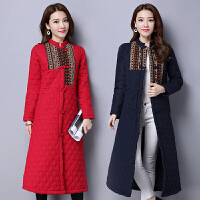 加厚长款棉衣秋冬新款民族风女装长袖盘扣单排扣拼接中式