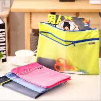 【单件包邮】得力5841防水拉链袋A4小清新文件袋学生用双层帆布资料收纳袋