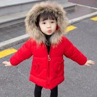 女童棉衣2018新款女宝宝冬装羽绒外套1-3岁儿童洋气棉袄加厚 红色 爱心棉衣(纯手工 80码(建议身高73-80CM