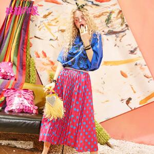 妖精的口袋pphome裙子长款2018新款撞色波点a字半身裙女