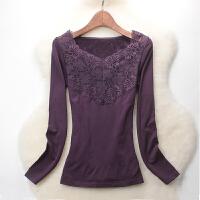 【内衣优选】秋冬季新款 蕾丝修身贴身高弹力保暖内衣女加厚加绒薄绒上衣长袖