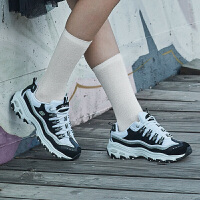 Skehers斯凯奇女鞋黑白熊猫鞋 D'LITES 休闲运动鞋平底显高
