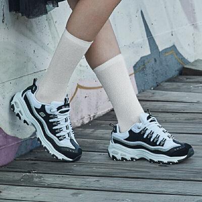 【满减商品】Skechers斯凯奇女鞋黑白熊猫鞋D'lites休闲运动鞋平底显高 11914 高中底设计,美腿显高;轻质缓震,防滑耐磨
