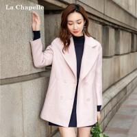 毛呢大衣中长款女冬2018秋季新款韩版宽松西装领外衣长袖气质外套