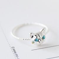 小饰品日韩版潮人可爱逼真小猫咪镶钻动物戒指女指环食指尾戒