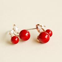 可爱红色樱桃珍珠 假耳钉夹耳环耳饰无耳洞耳夹韩国饰品