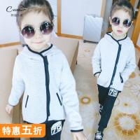 儿童套装女童韩版休闲运动加绒套装女孩纯棉冬装卫衣长裤两件套装