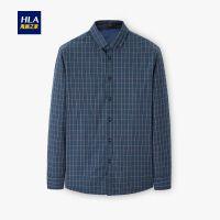 HLA/海澜之家休闲格纹长袖衬衫2019冬季新品保暖加绒长衬男