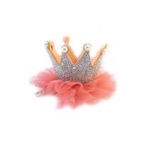 韩国儿童头饰皇冠发夹小公主网纱王冠发卡女童宝宝头饰品夹子 银色